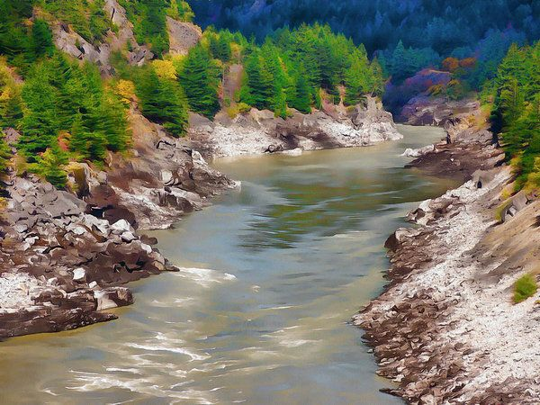 Fraser Canyon At Hells Gate Art Print by Leslie Montgomery.