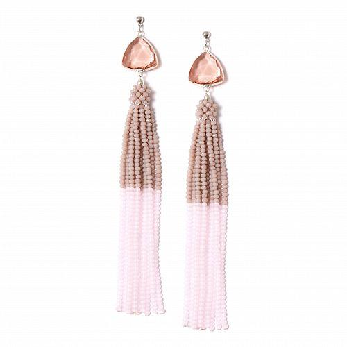 Бледно-розовые серьги с кистями из бисера - купить за 12 500 руб. в Москве