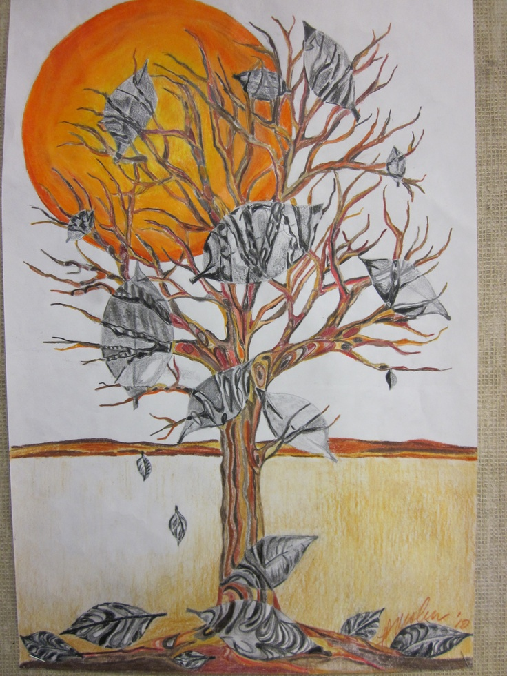 Colored pencil tree assignment, using shape.