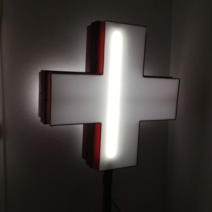 Vintage 70's enseigne Croix Rouge Kinésithérapeute électrifiée