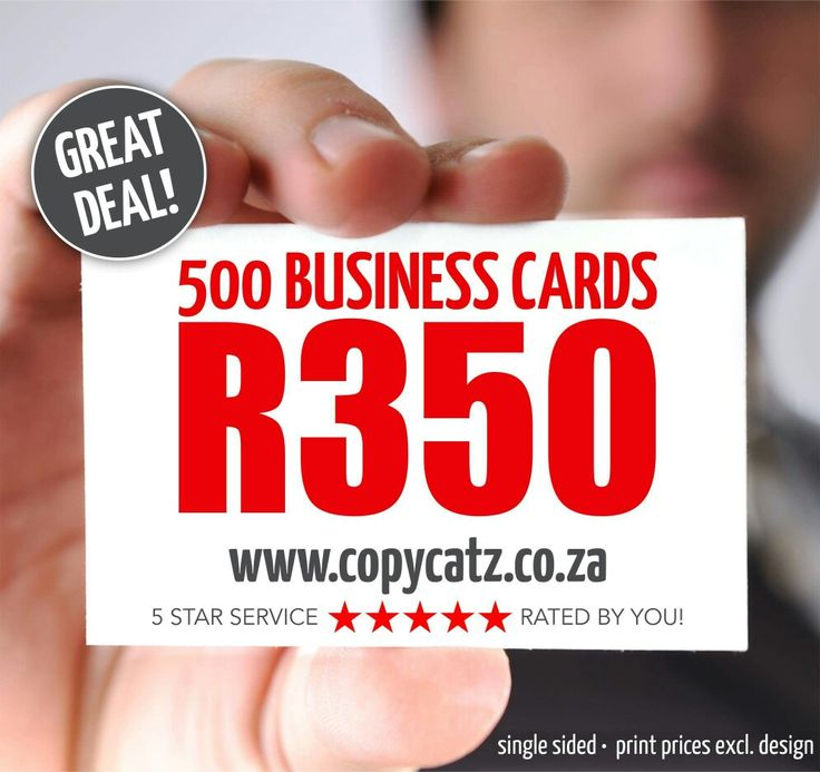 500 BUSINESS CARDS @ R350 incl.  A4 Colour copies and prints @ R5 (single sided) A4 Black & White copies and prints @ R1 (single sided) 1000 A6 single sided colour flyers @ R390  www.copycatz.co.za   info@copycatz.co.za