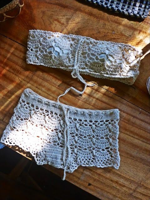 FATIMA CROCHET: Skingerstraat FREE CROCHET PATTERN for tube bra & boy shorts set with step by step tutorial