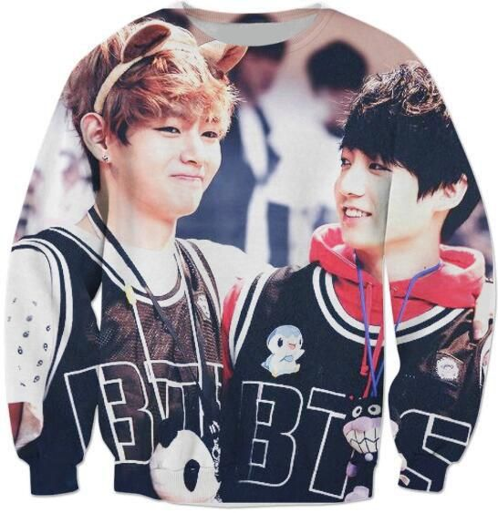 Free Shipping New Arrive Fashion Clothing Tees BTS vkook Sweatshirt Crewmeck Women/Men Spring Hoodies Tees Outerwear