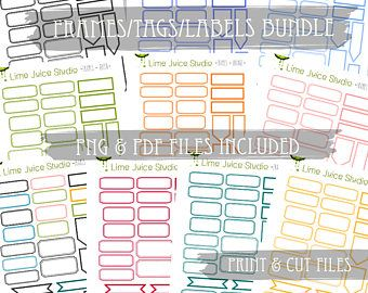 10 Sheets Journaling Labels-Digital Download-Project Life-Scrapbooking-Print & Cut-Journalling-PNG/PDF/SVG plus **free** Silhouette Cut File