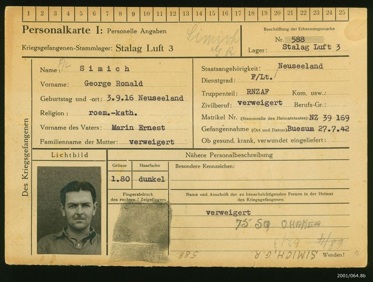 Prisoner of war record card belonging to Flight Lieutenant George Ronald Simich while he was incarcerated at Stalag Luft III at Sagan. From the collection of the Air Force Museum of New Zealand.