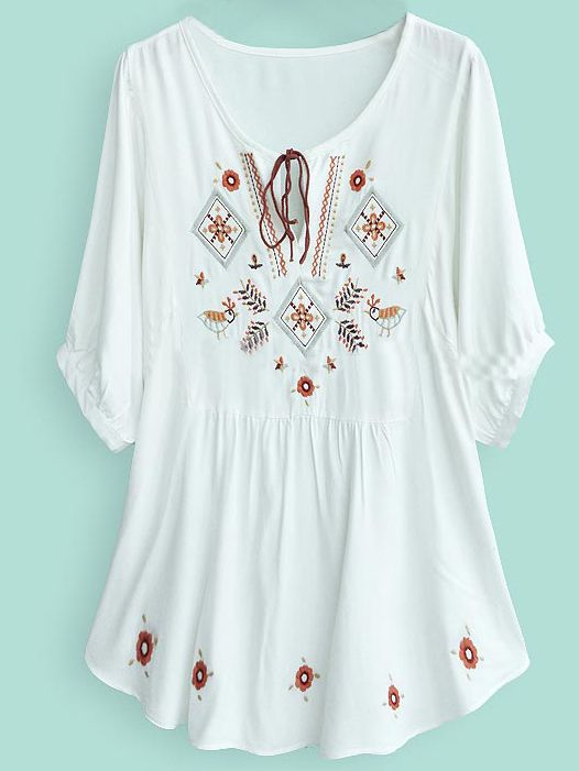 White Batwing Sleeve Tribal Embroider Tunic Top
