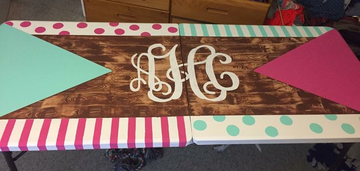 wood grain monogram striped polka dot beer pong table