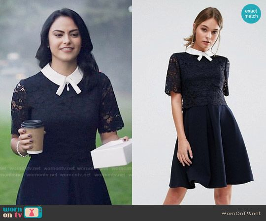 Veronica S Navy Lace Dress With White Collar On Riverdale