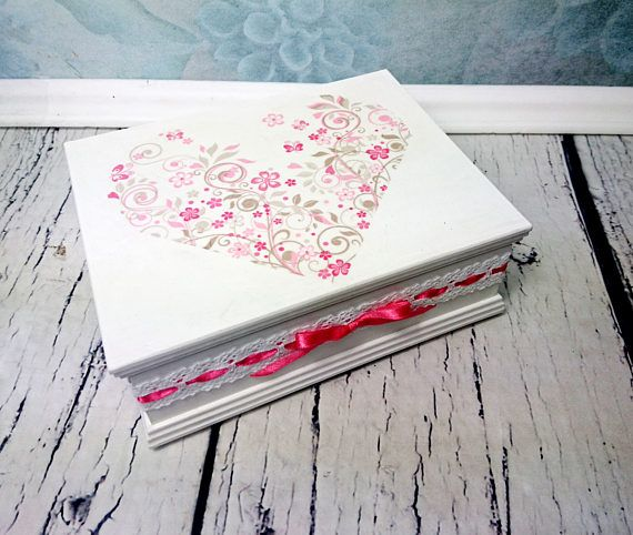 Pastel white pink Trinket box retro shabby chic decoupage heart lace ribbon bow gift for her jewelry box vintage decor keepsake mothers day