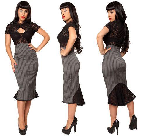 Fishtail wiggle skirt.