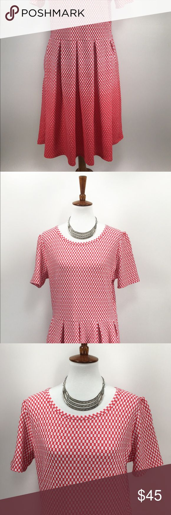 Lularoe Amelia Dress Checker Polka Dot Orange LulaRoe Amelia Dress  Size 3XL Color: Coral orange and White No Stains or Rips 🌸BUNDLE AND SAVE  🌸NO TRADES - PRICE IS FIRM 🌸FEEL FREE TO ASK QUESTIONS 🌸I DO NOT MODEL Custom Sku D22 LuLaRoe Dresses