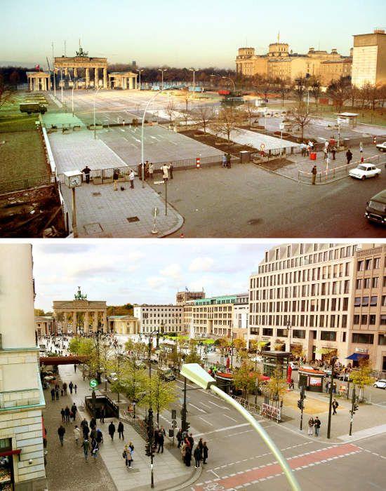 Pariser Platz am Brandenburger Tor wird im Herbst 1989.The Berliner Mauer abgeriegelt: Fotos von damals und heute Die Lokale