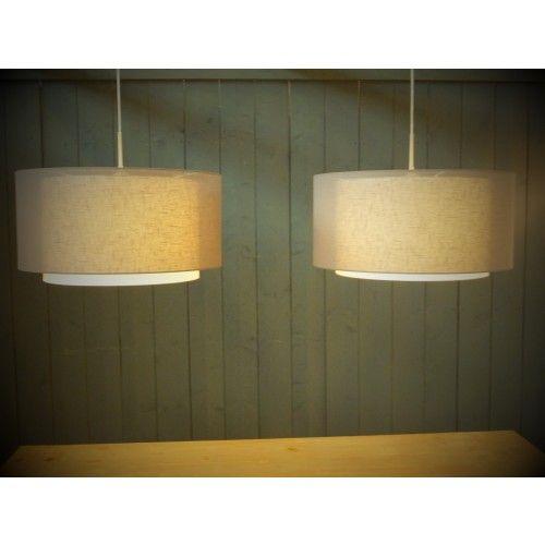 Linden tanis duo xl hanglamp met dubbele kappen 2-lichts linnen 47cm kap in meerdere kleuren