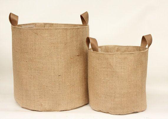Poignées de jute hessienne stockage panier seau - cuir - éco Jute rustique stockage - UK - pépinière, Plant manique, Tidy, organisateur