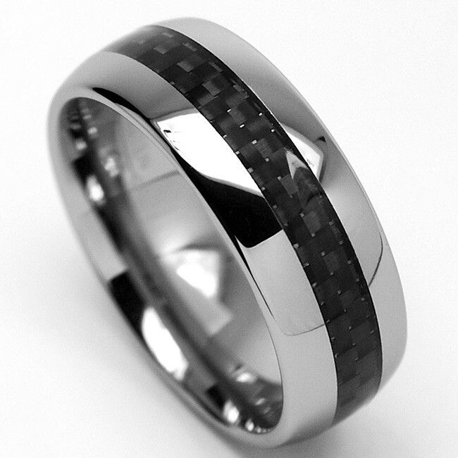 Men's Tungsten Carbide Carbon Fiber Inlay Ring