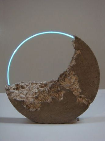 Sarah Blood | Luna Fossil IV 2010  Flameworked glass, argon, cement, pigment Approx 63 x 63 x 12cm