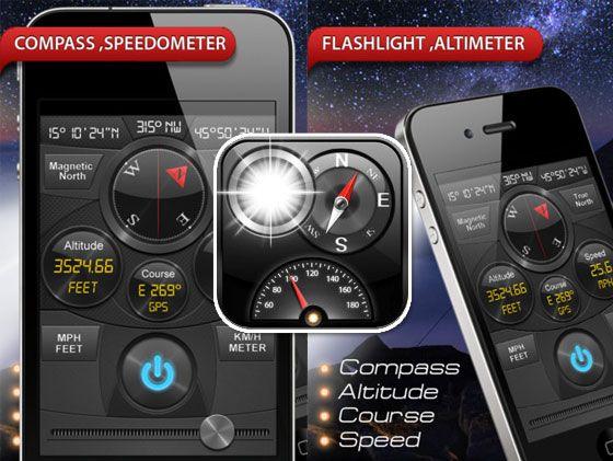 gps compass, speedometer, altimeter, course, flashlight, strobe mode with CFSAC l #iphone
