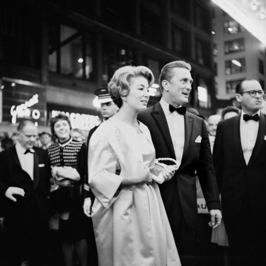 "Kirk Douglas and his wife, Anne Buydens, at the premiere of ""Spartacus"" , 13 October 1960"