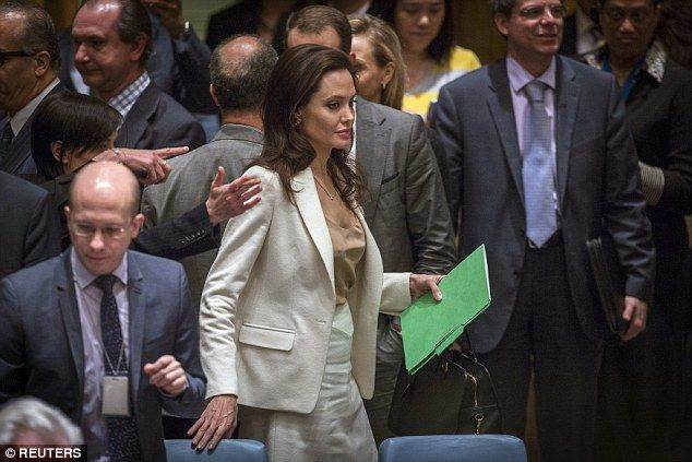 Angelina Jolie arrives with her speech to address the United Nations Security Council meet...