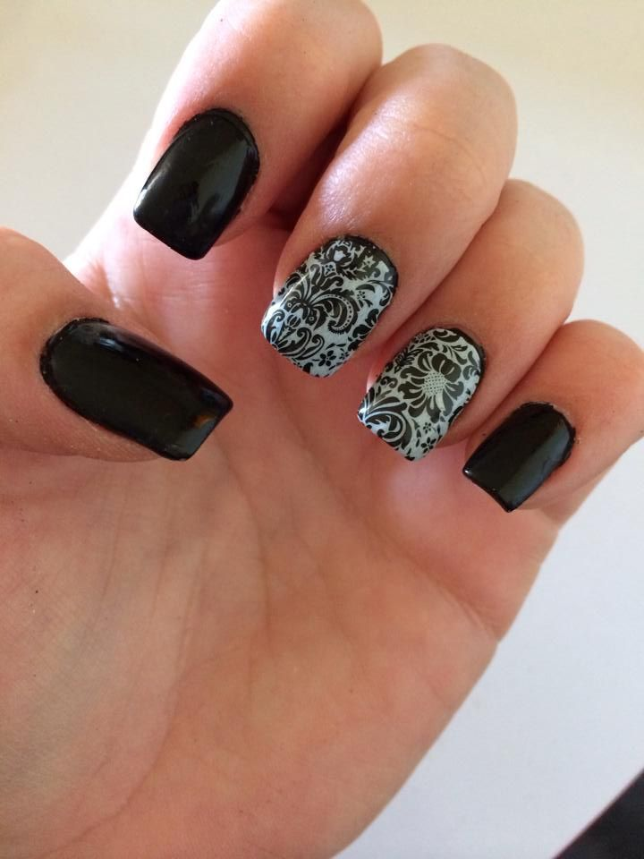 Jamberry nails raven lacquer with decorative black nail for Decorative nails