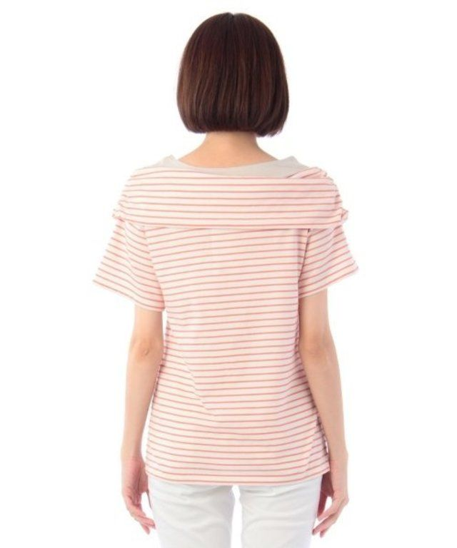 【ボーダーオフショルダー風プルオーバー】オフショルダー風の衿がクラッシックな雰囲気でトレンド感のあるプ…