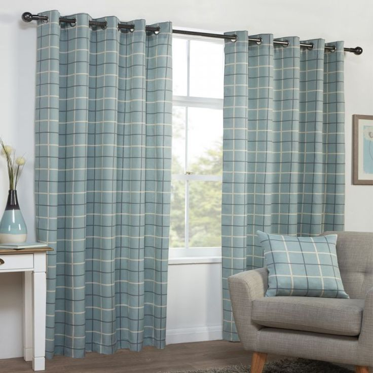 Duck Egg Blue | Teal | Check | Stripe | Eyelet | Curtains | | Tonys Textiles