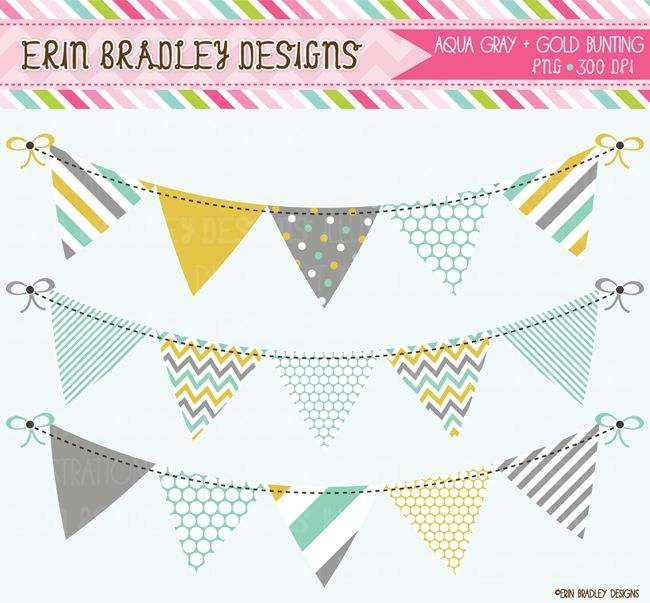 Aqua Gold and Gray Banner Flag Bunting Commercial Use Clipart Graphics