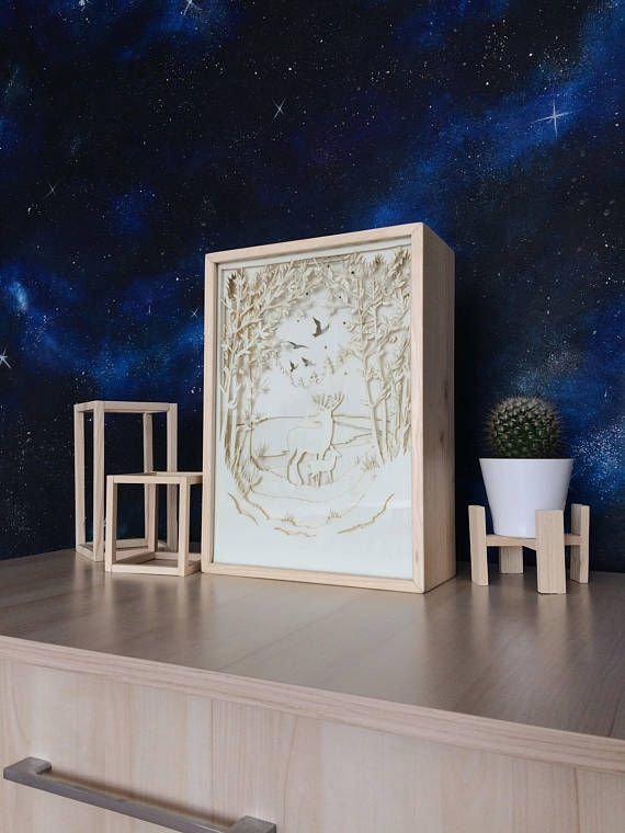 Deer in a Forest Paper Cut Light Box Shadow Box Perfect Gift