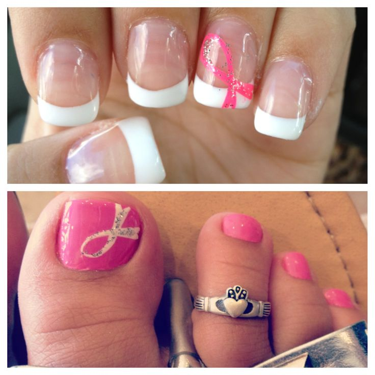 Breast Cancer Awareness Nails <3 I love it - wished I had a claddagh toe ring..