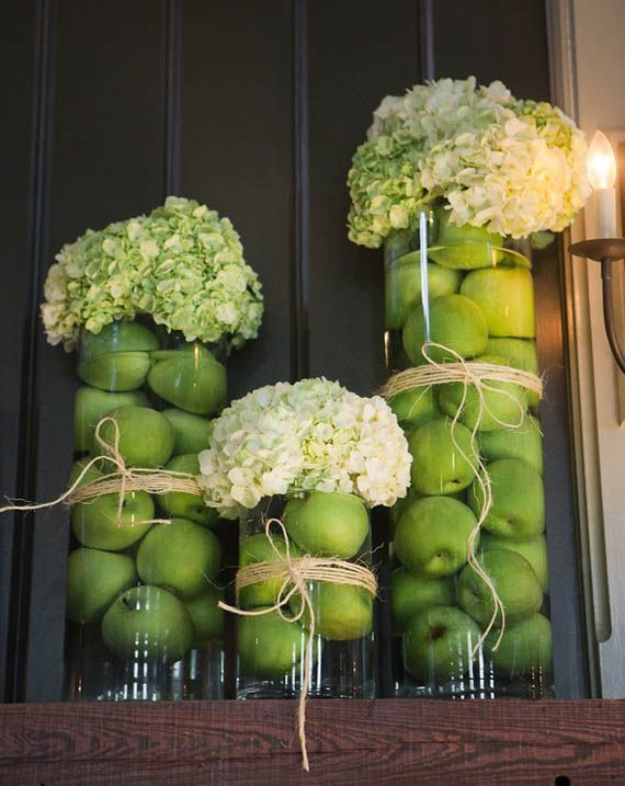 Ideas y Decoración para su mesa de Rosh Hashana: could maybe do yellow apples and flowers, and do little bee decorations