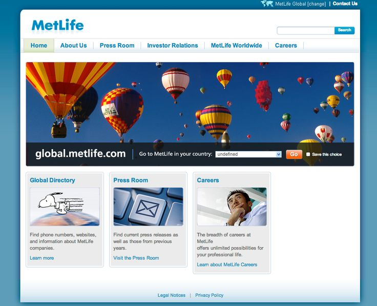Metlife uses ideas of freedom in their imagery but they are less descript. They have less on their pages in the way of graphics and images. They are more a text heavy site