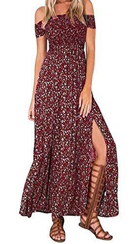 Oferta: 15.99€. Comprar Ofertas de KE1AIP Boho verano floral de hombro Beachwear primavera partido vestido de fiesta vestido de deslizamiento lateral (XXL, Wine barato. ¡Mira las ofertas!