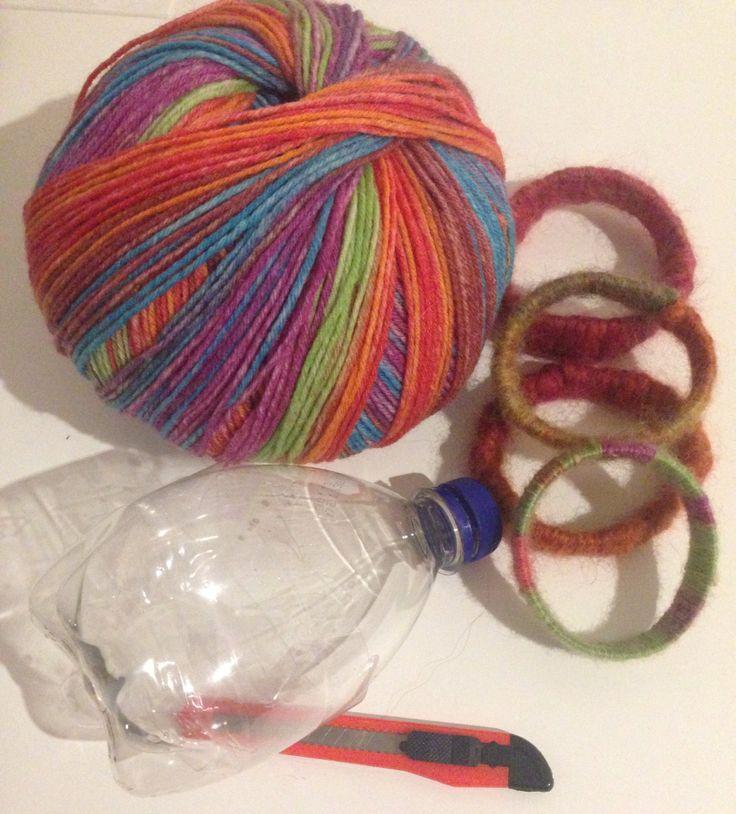 DIY Armbänder aus Wolle und Plastikflasche