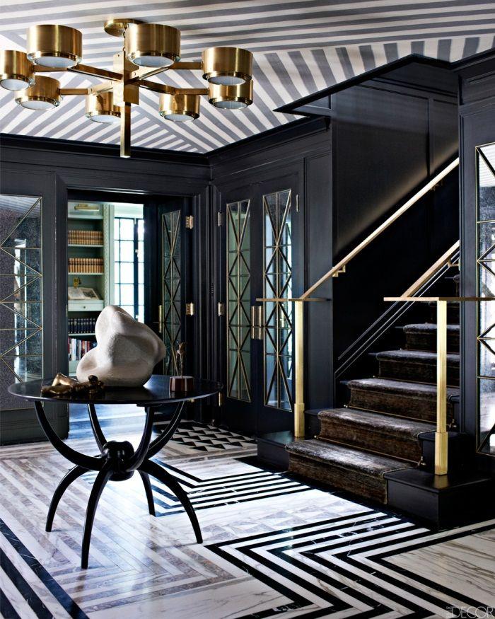 Kelly Wearstler's high drama black and white Art Deco patterned marble floor.  Image courtesy Elle Decor. http://blog.asmarainc.com/blog/bid/59070/7-grey-and-black-art-deco-rugs-star-in-new-kelly-wearstler-interiors