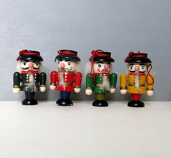 Set of 4 Nutcrackers Ornaments Vintage Wood 1960s by CoconutRoad