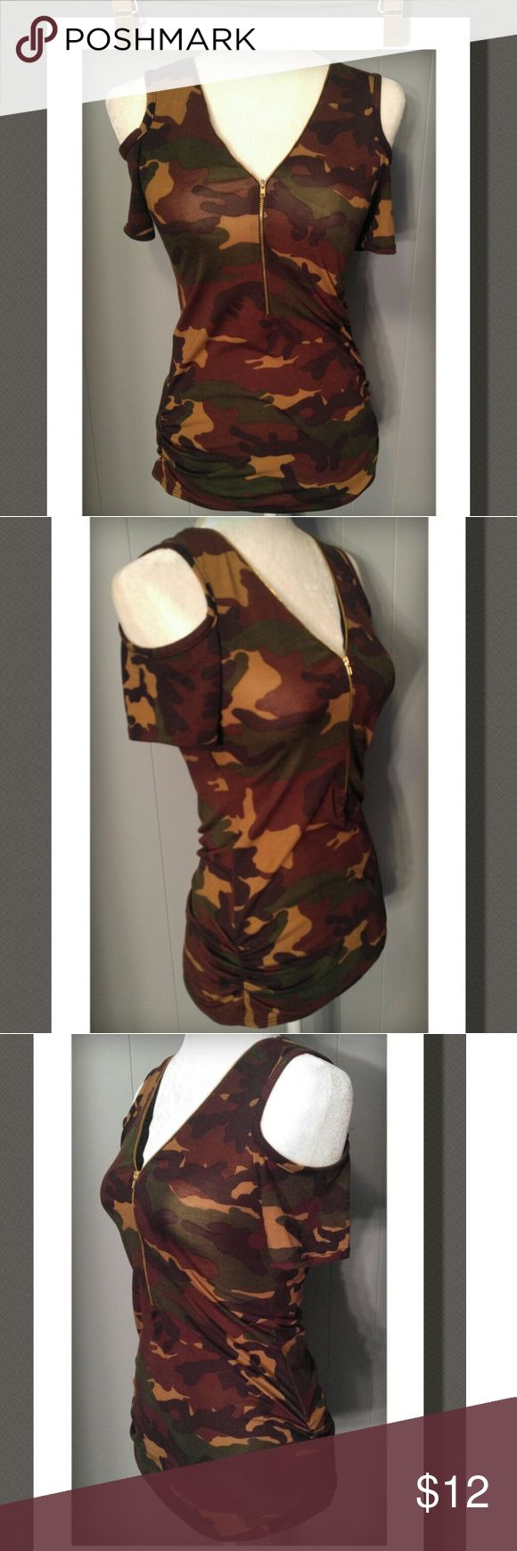 Camouflage Top Super cute camo off shoulder top with gold front zipper closure,  and crimped sides. Tag says Mediym but not true to size more like a Small..NWOT 95% Polyester 5% Spandex Beware Tops