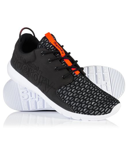 #superdry Superdry men's Sport weave runner trainers. A pair of lightweight fashion trainers featuring a combination of a soft touch upper and a mesh weave toe. The side of the trainers come with an embossed Superdry logo on one side as well as a branded sole. The Sport weave runner trainers are finished with a branded tongue and a bungee cord heel pull. 4226652000038AK5018 Black Condition | new