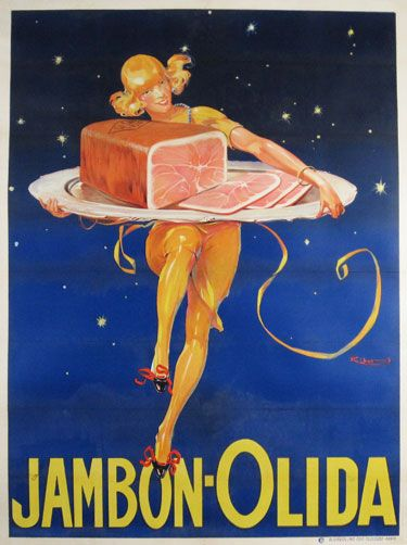 Jambon Olida poster by R. Ribet from 1925 France. Original vintage food posters from antique posters store in Chicago.