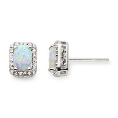 Opal and White Sapphire Earrings
