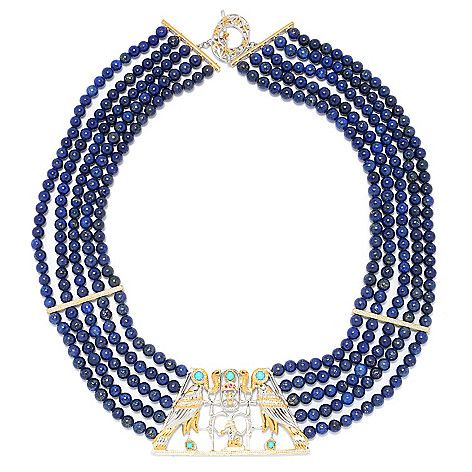 "152-296 - Gems en Vogue Cleopatra 20"" Lapis Bead & Multi Gemstone Statement Necklace"