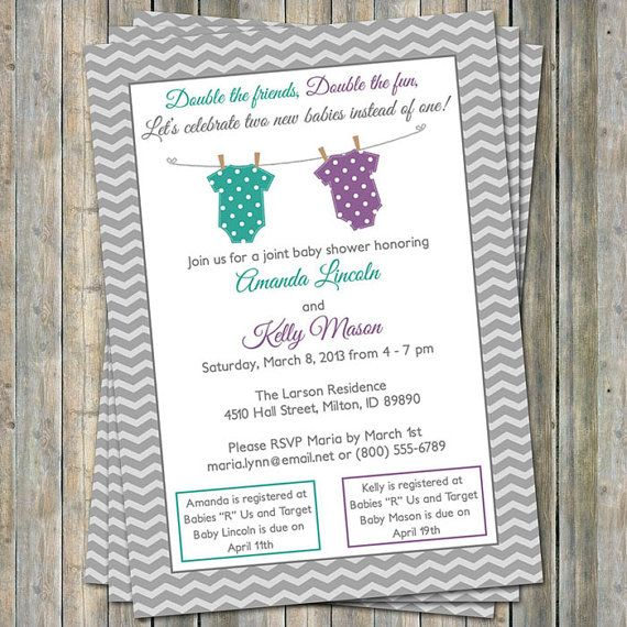 Joint Baby Shower Invitation, polka dot onesies, Purple and Teal/Green Digital, Printable file on Etsy, $15.27 AUD