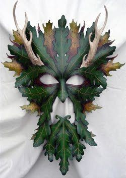 Leather Green Man mask by Donovan Soland of Wing and Talon Leather Works.