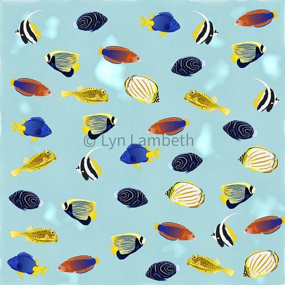 Tropical reef fish digital paper, instant download, colorful aquarium fish