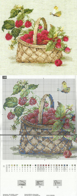 Вышивка Корзинка с малиной. Схема для вышивки малины | Домоводство для всей семьи.