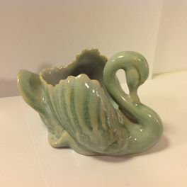 Vintage Crown Lynn Swan Blue Trickle Glaze