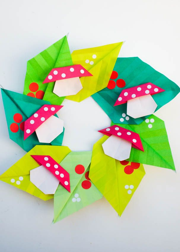 how to fold an origami mushroom and leaf wreath for new year- fun and easy kids origami project