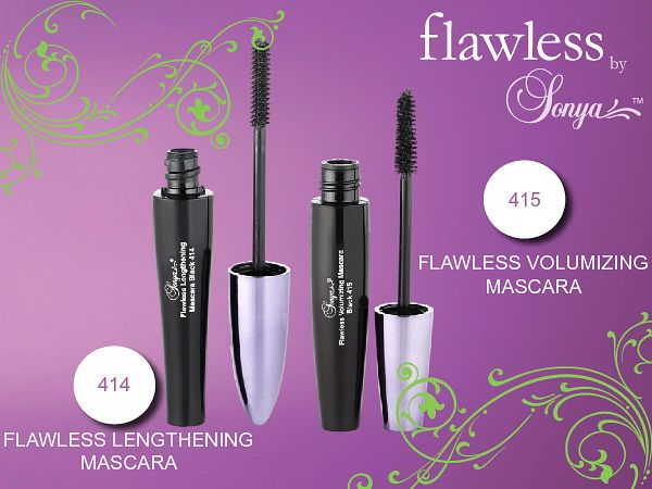Take your lashes to great lengths with our aloe enriched flawless by Sonya™ Lengthening Mascara. Create natural looking, high definition lashes that are long, luxurious, defined and separated for unforgettable eyes.   Lush, lavish, dramatic, full lashes. Our aloe inspired flawless by Sonya™ Volumizing Mascara creates volume and curl for glamorous, dramatic lashes coating each lash with a velvety finish, leaving them looking beautiful, healthy . Order at…