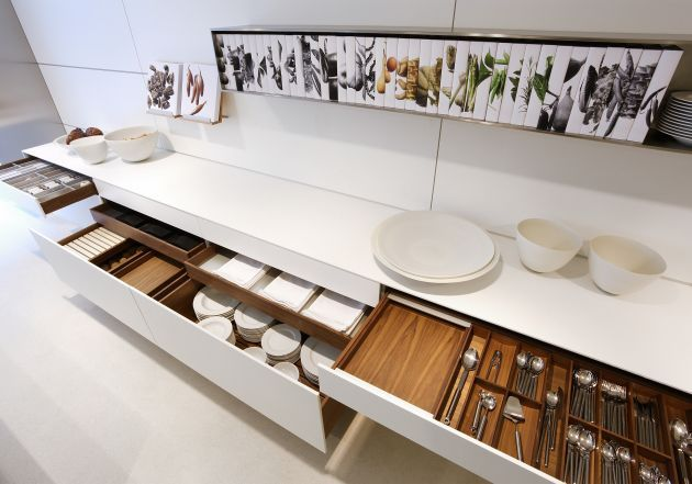 Everything in its place and well organized... Bulthaup kitchen designs incorporate several great drawer concepts.