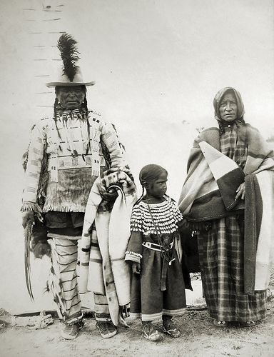 Long Knife with his wife and granchild. Assiniboine