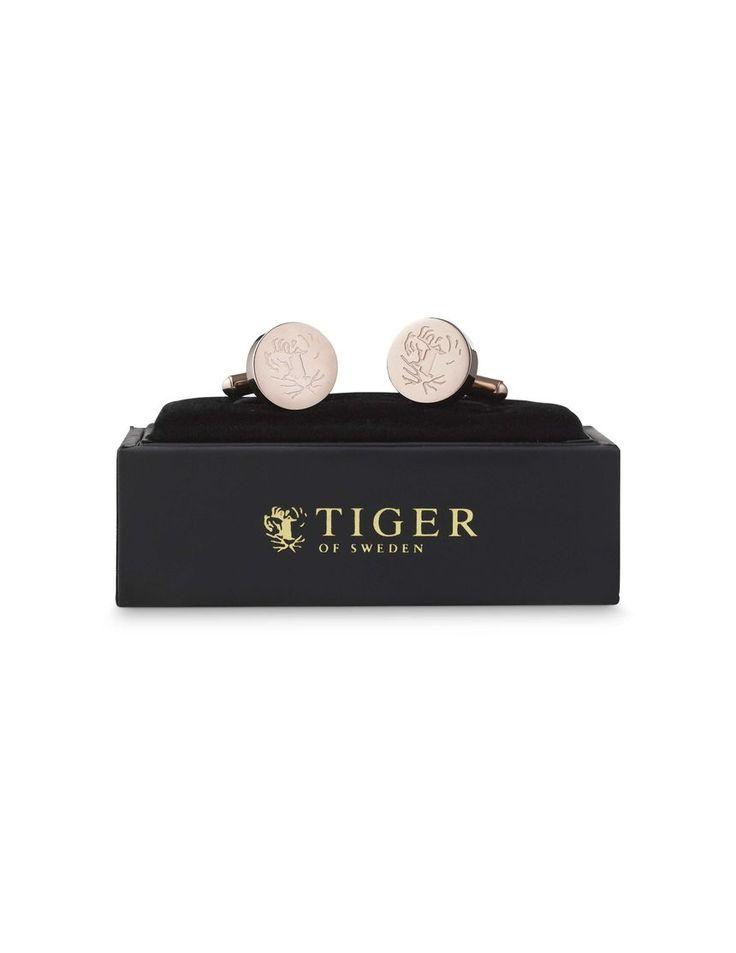 Rodolfo cufflinks-Men's round cufflinks. Embossed with Tiger of Sweden logo.
